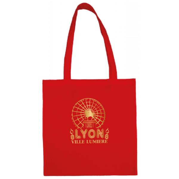 """Tote bag """"Lyon ville lumière"""" couleur rouge"""