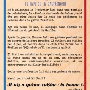"""Tableau en bois modèle """"paul bocuse"""""""