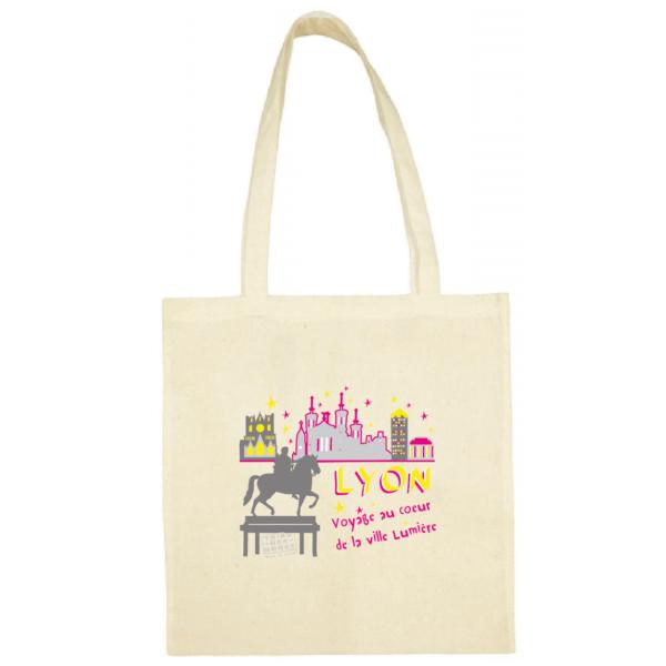 """Tote bag """"Voyage au coeur de la ville lumière"""" couleur blanc"""