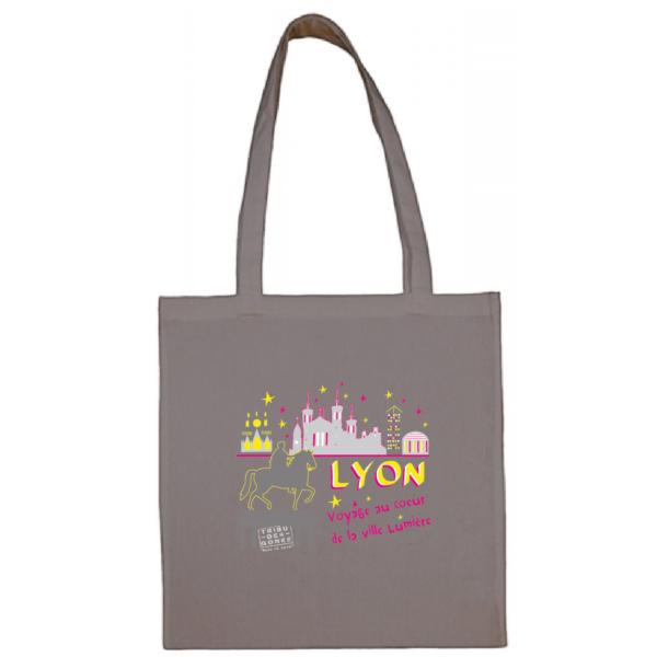 """Tote bag """"Voyage au coeur de la ville lumière"""" couleur gris"""