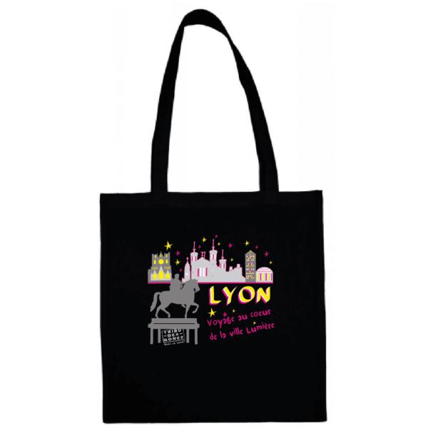 """Tote bag """"Voyage au coeur de la ville lumière"""" couleur noir"""