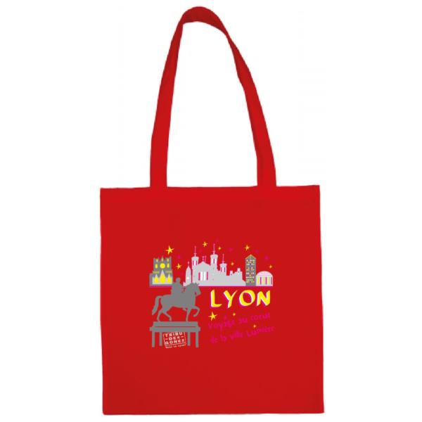 """Tote bag """"Voyage au coeur de la ville lumière"""" couleur rouge"""