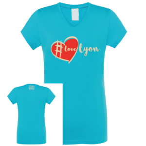 Tshirt femme #love lyon couleur bleu turquoise