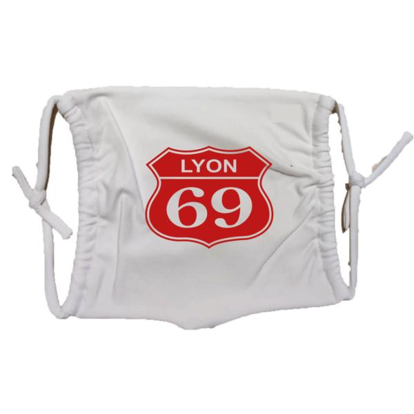 Masque en tissu lavable lyon 69 blanc