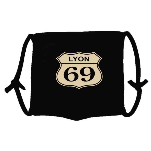 Masque en tissu lavable lyon 69 noir