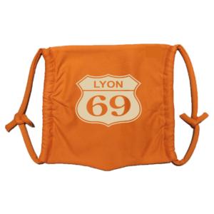 Masque en tissu lavable lyon 69 orange