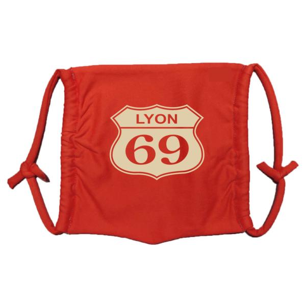 Masque en tissu lavable lyon 69 rouge