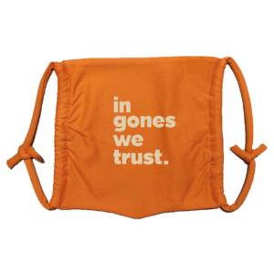 Masque en tissu lavable in gones we trust orange