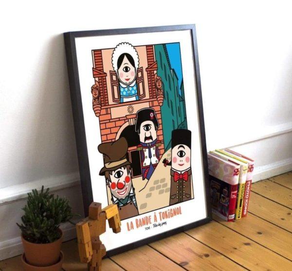 """Lithographie des artistes lyonnais Toki art """"La bande à Tokignol"""" avec Guignol et ses amis"""