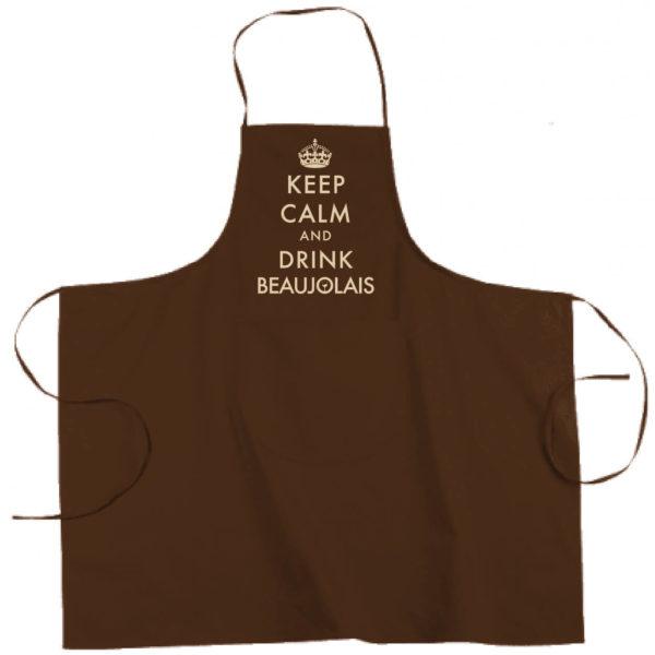 "Tablier dicton ""Keep calm and drink beaujolais"" couleur marron"