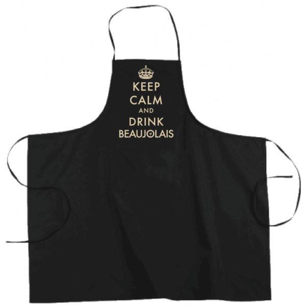 "Tablier dicton ""Keep calm and drink beaujolais"" couleur noir"