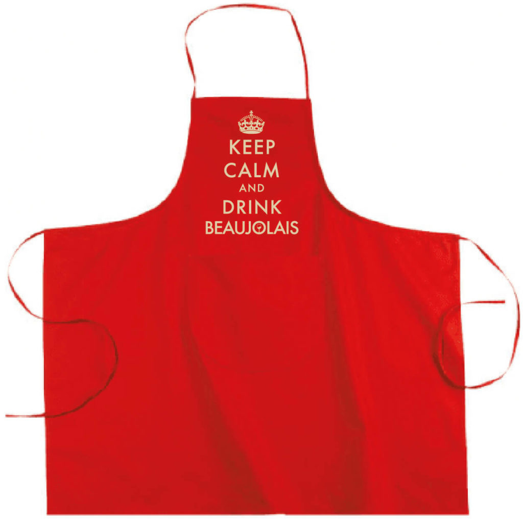 """Tablier dicton """"Keep calm and drink beaujolais"""" couleur rouge"""