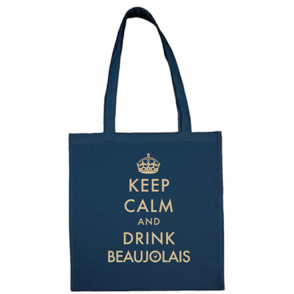 "Tote bag ""keep calm and drink beaujolais"" couleur bleu"