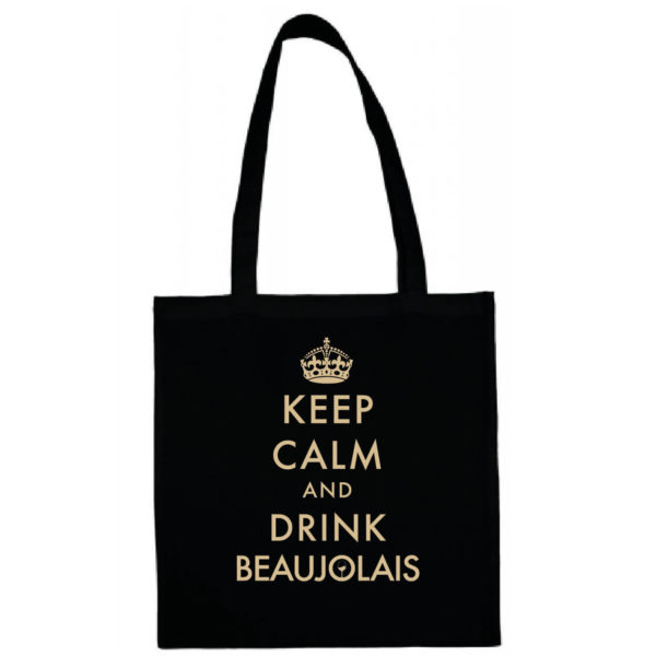 "Tote bag ""keep calm and drink beaujolais"" couleur noir"