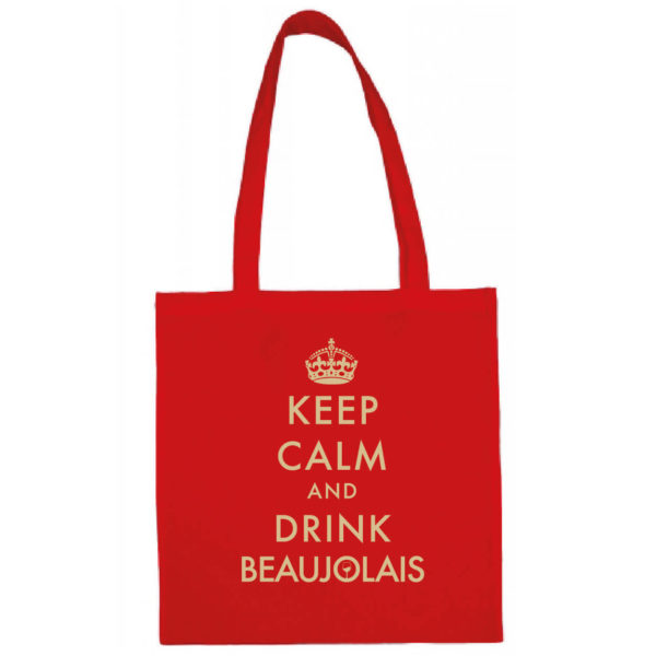 "Tote bag ""keep calm and drink beaujolais"" couleur rouge"